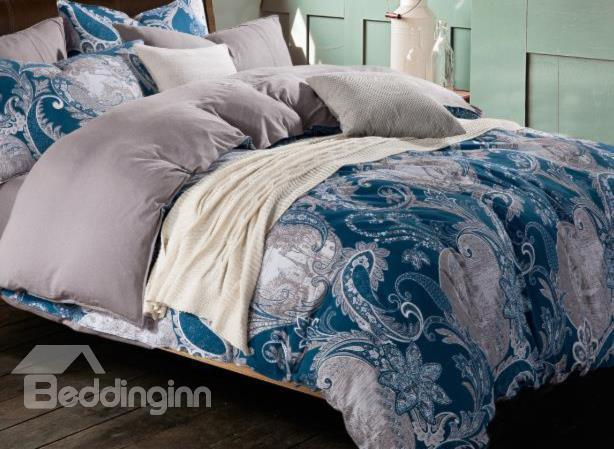 New Arrival Luxurious Floral Patterns Blue Color Kintting Bedding Sets With Fitted Sheet