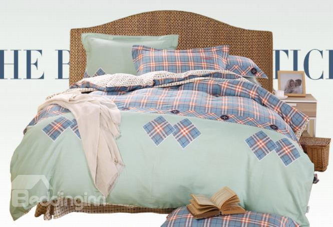 Top Class Blue Grid Combed Cotton 4-Piece Duvet Cover Sets