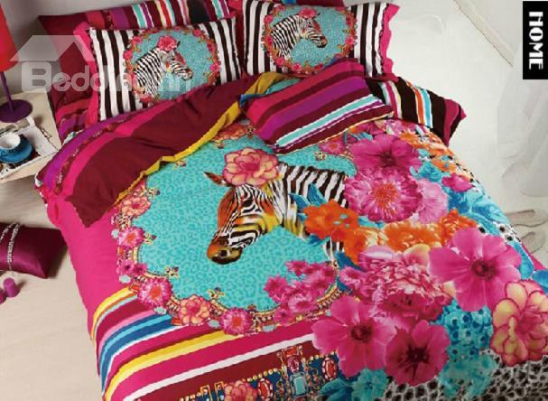 Amazing Pink Flower And Zebra Print 4-Piece Cotton Duvet Cover Sets
