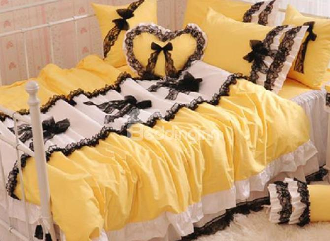 New Arrival 100%Cotton Princess Style Beautiful Lace Yellow 4 Piece Bedding Sets