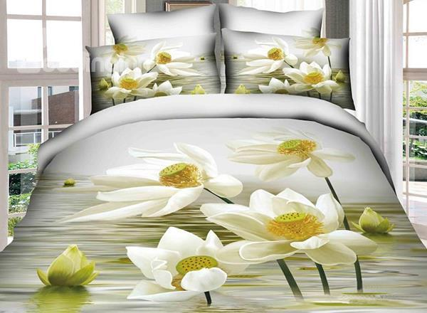 Delightful Water Lily Print 4-Piece Cotton Duvet Cover Sets