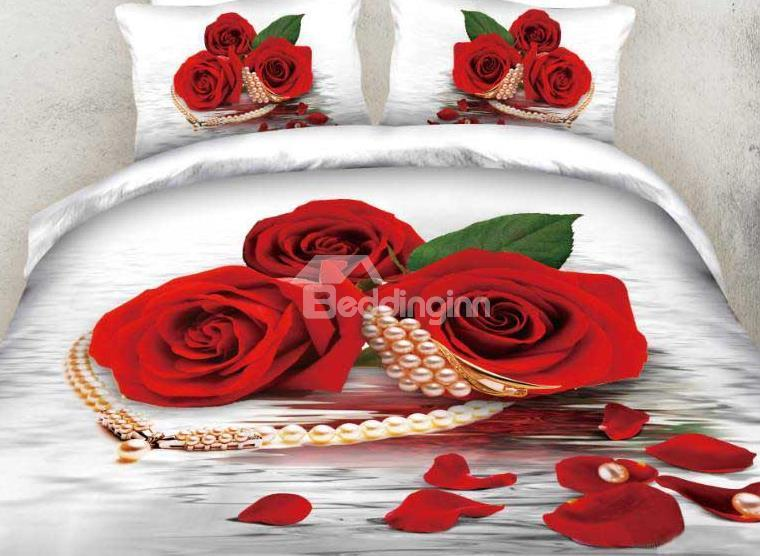 New Arrival Beautiful Red Rose And Pearl Necklace Print 4 Piece Bedding Sets