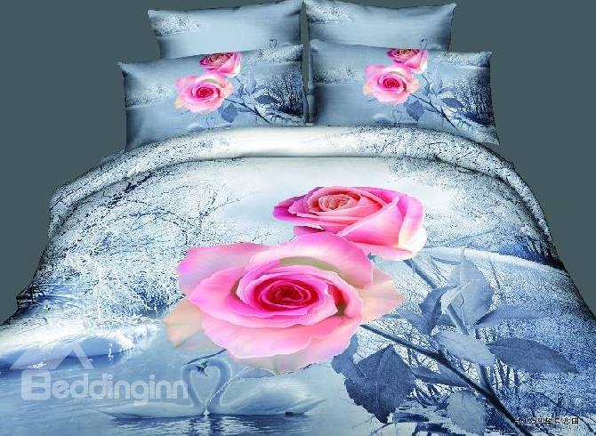 Pink 3d Rose Flower Print Bedding Sets Duvet Cover