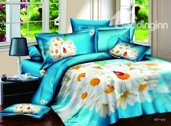 New Arrivals High Quality Fresh Summer With White Flowers 4 Pieces Bedding Sets