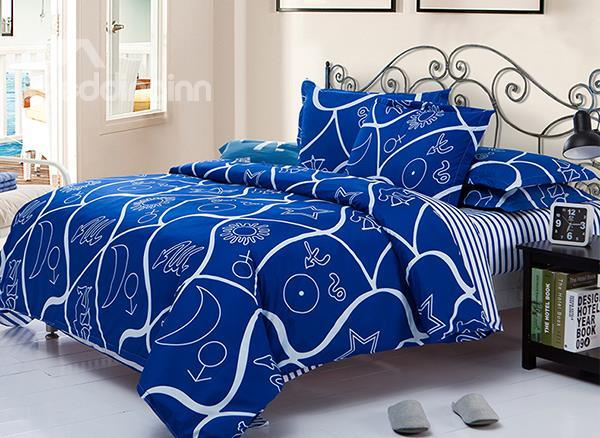 Vintage Character Pattern 4-Piece Polyester Duvet Cover Sets