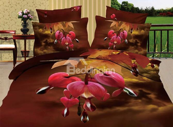 Super Soft Red Bud Flower Print 4-Piece 3d Bedding Sets