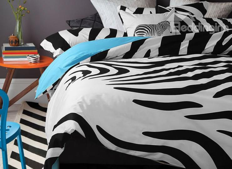 New Arrival 100%Cartoon Active Print Zebra Blue 4 Piece Bedding Sets/Duvet Cover Sets