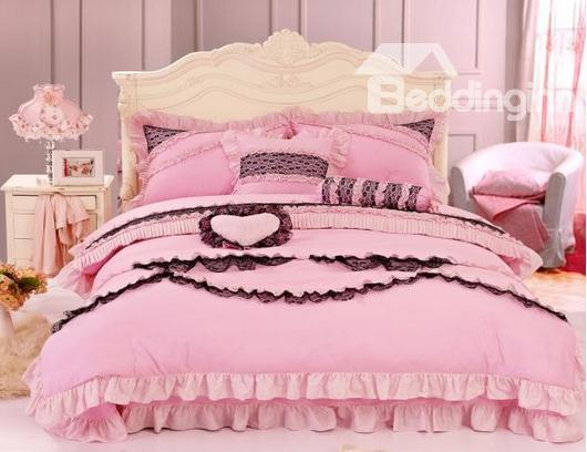 Lovely Pink Color With Black Lace Pricess Style Bedding Sets 4 Piece Duvet Cover Sets