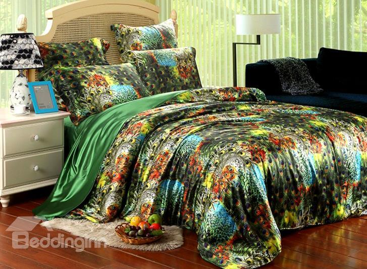 Beautiful Peacock Feather Print 4-Piece Silk-Like Fiber Duvet Cover Sets