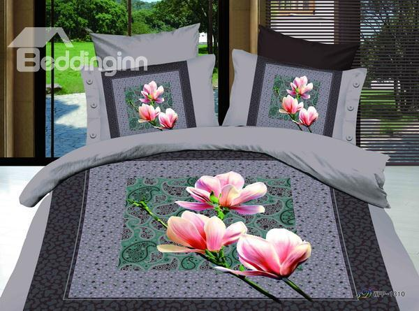 New Arrivals Elegant Printed Pink Lily 4 Pieces Bedding Sets With High Quality
