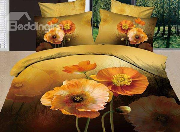 New Arrival Lovely Yellow Poppy Flower Print 4 Piece Bedding Sets