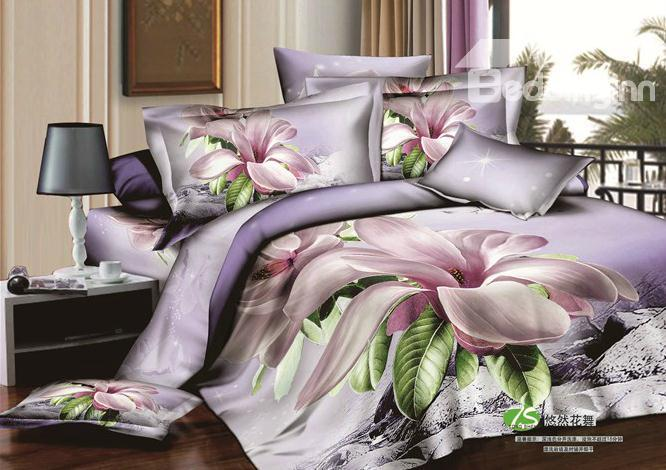Light Purple/Lilac Orchid Big Flower Print 4 Piece Bedding Sets/Duvet Cover Sets