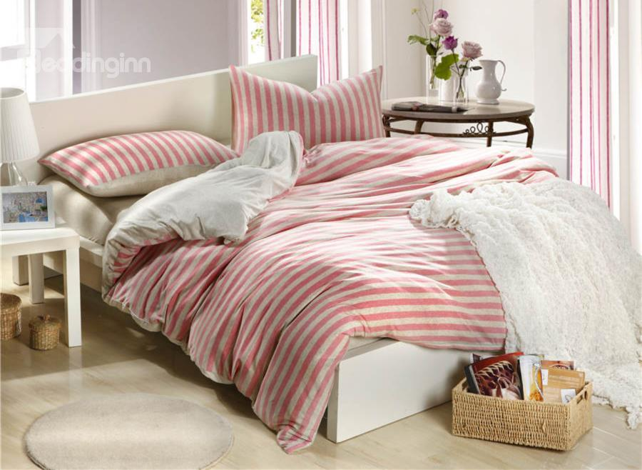 100%High Quality Cotton Unique Knitting White And Pink Stripe 4 Piece Bedding Sets