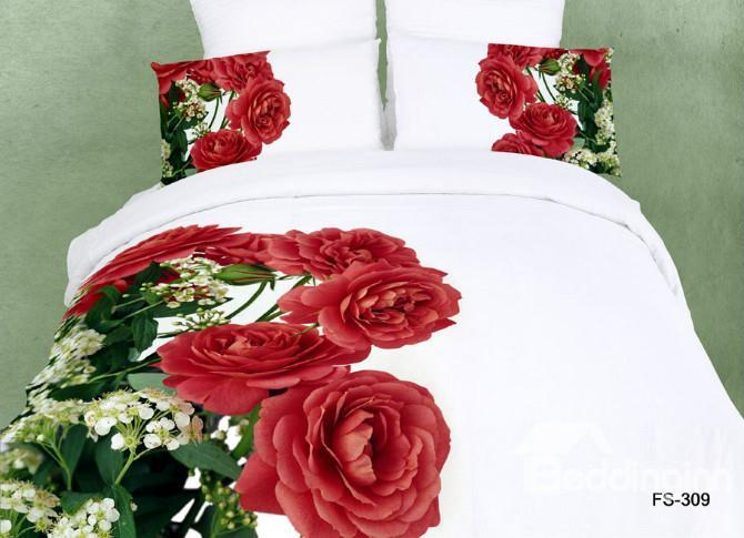 100%Cotton Red Roses Print Pure White Color 4 Piece Bedding Sets Duvet Cover Sets