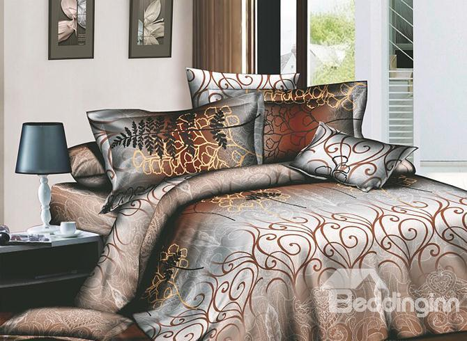 Attractive Brown Arabesque 4 Piece Active Print Bedding Sets With Cotton 10486318)