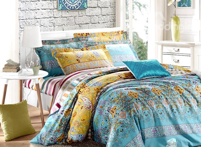 Classical Blue Paisley Flower Print 4-Piece Cotton Duvet Cover Sets