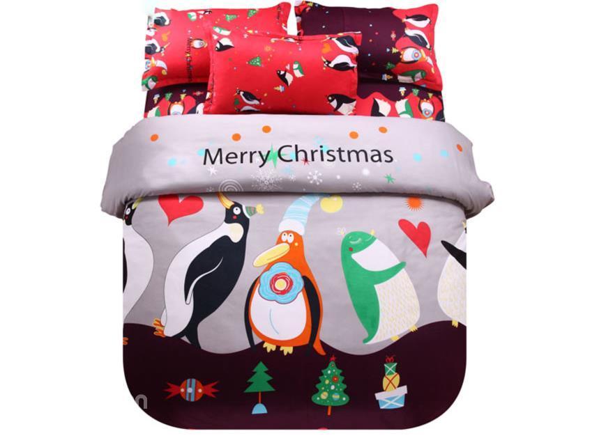 Christmas Penguin Print 4-Piece Polyester Duvet Cover Sets