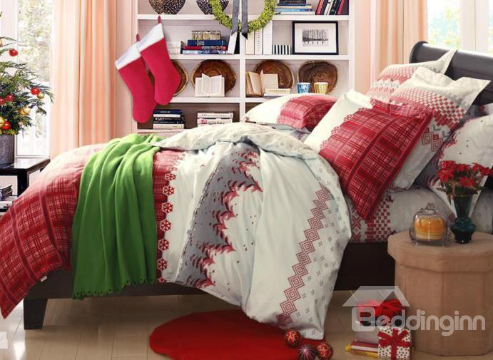 New Arrival 100%Cotton Christmas Gift Tree Print 4 Piece Bedding Sets