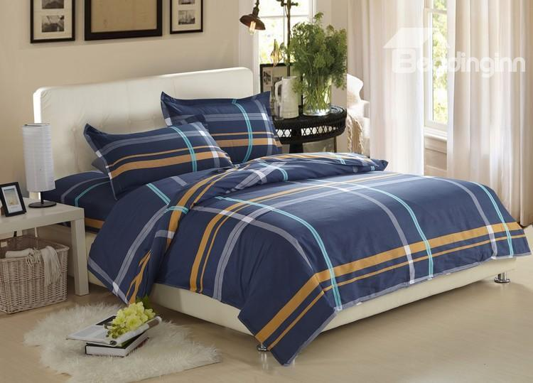Gentle Stripe Print Dark Blue 100%Cotton 4 Piece Bedding Sets