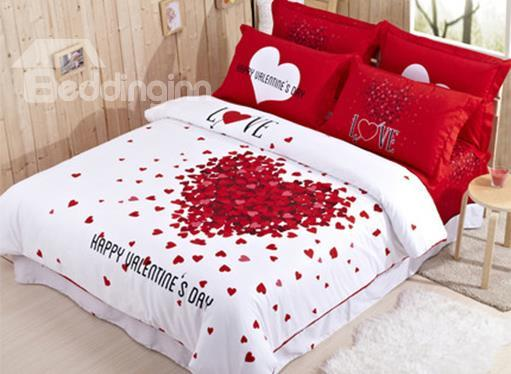 new arrival thousand red hearts romantic 4 piece duvet cover sets - Romantic Bed Sets