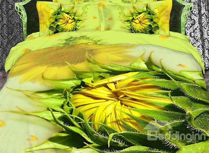 Splendid Sunflower Print 4 Piece Bedding Sets/Duvet Cover Sets