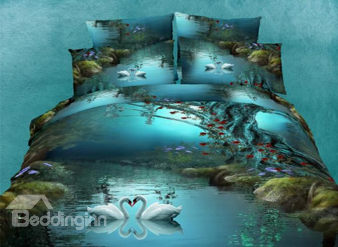 New Arrival High Quality Blue Color Loving Swans Print 4 Piece Bedding Set