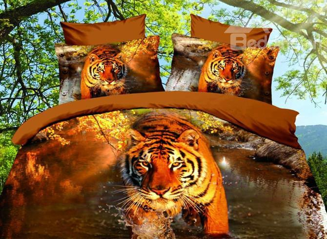 High Quality Tiger Walking In The Water 4 Pieces Polyester 3d Bedding Sets