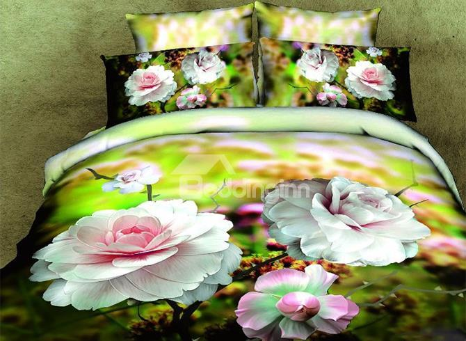 100%Cotton Big Peony Flower Print 4 Piece Bedding Sets
