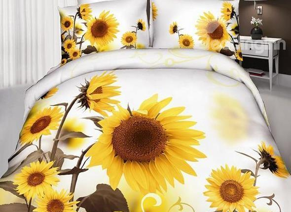 New Arrival Cotton Skincare Optimistic Sunflower Print 4 Piece Bedding Sets/Duvet Cover Sets