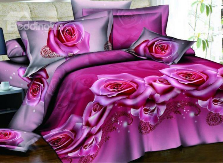 Charming Pink Rose Print 4-Piece Polyester 3d Duvet Cover Sets