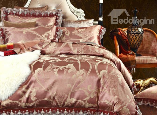 Very Beautiful Champagne Floral Print Hook Lace Edging 4-Piece Stain Duvet Cover Sets