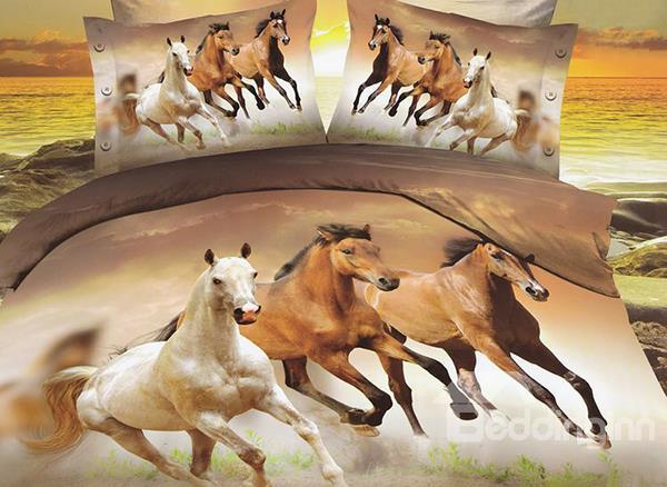 European Style Galloping Horse Reactive Print 4 Piece Poyester Bedding Set