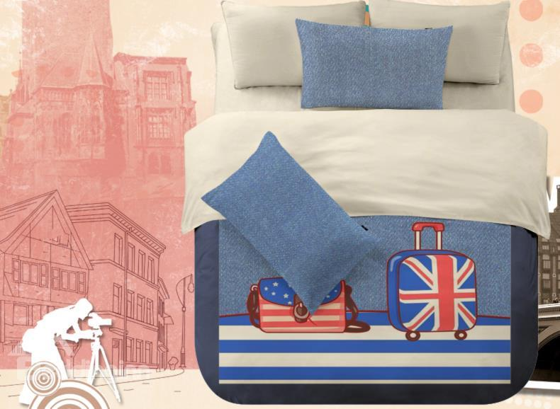American Flay Luggage Print 4-Piece Polyester Duvet Cover Sets