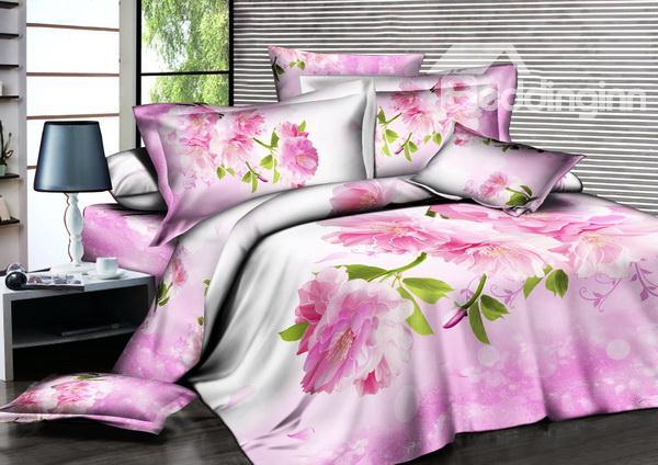 Romantic 3d Pink Flowers In Hot Sell 4 Pieces Bedding Sets