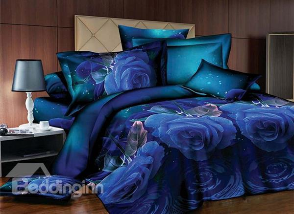 Hot Selling Blue Rose Print 4-Piece Polyester Duvet Cover Sets