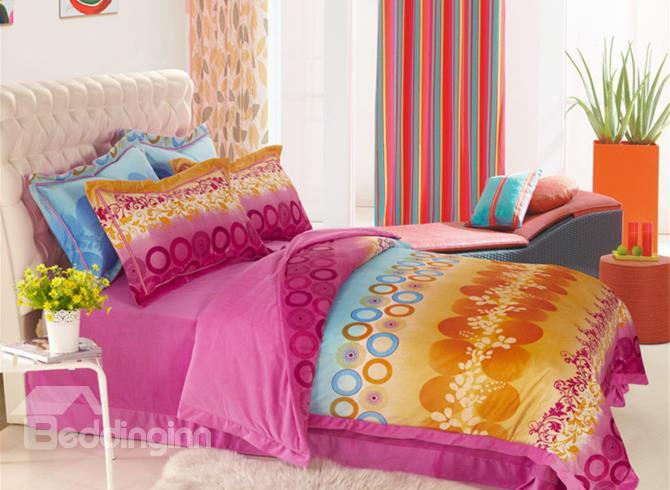 Brighten Color With Modern Pattern Print Comfortable Sandedcloth Material 4 Piece Bedding Sets