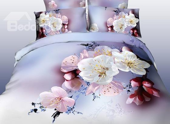 New Arrival Elegant Cherry Blossom Print 4 Piece Bedding Sets