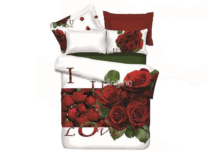 Forever Love Red Rose Print 4-Piece Cotton 3d Duvet Cover Sets