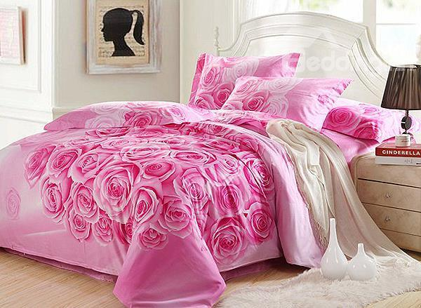 Fovever Love Pink Rose Print 4-Piece Cotton 3d Duvet Cover Sets