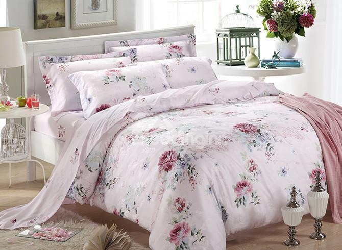 High Quality Delicate Shiny Colorful Flowers Print 4 Pieces Summer Bedding Sets