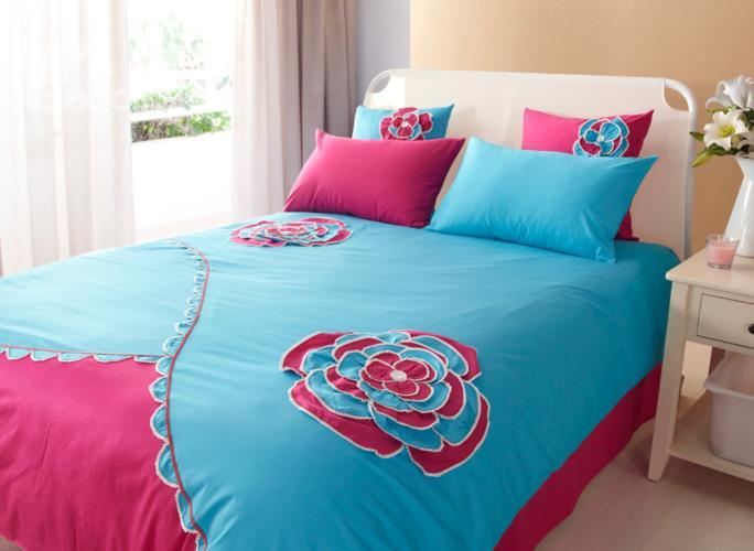 New Arrival Blue And Rose Color Flower Applique Design 6 Piece Bedding Sets