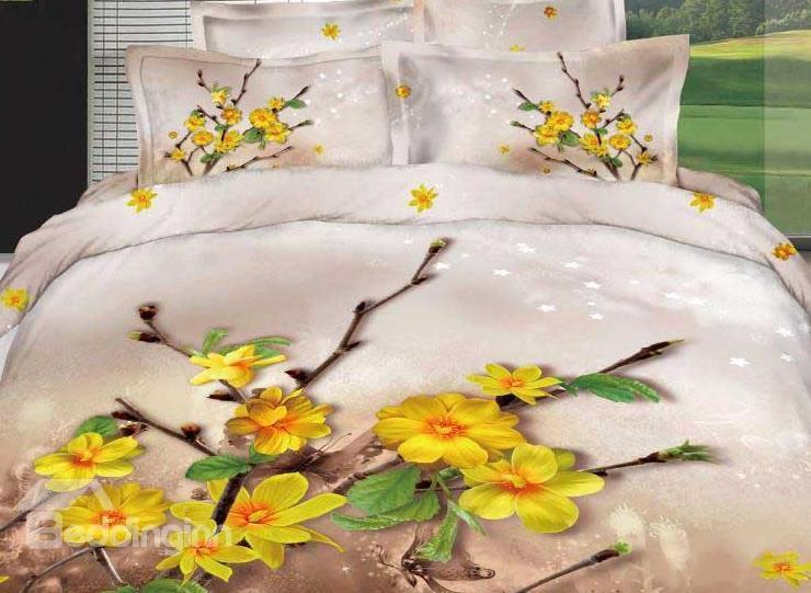 New Arrival Adorable Yellow Flowers Print 4 Piece Green Bedding Sets