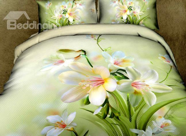 Elegant White Daffodil Flower Print 4-Piece Cotton Duvet Cover Sets