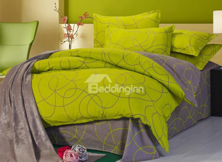 100%Cotton Green And Coffee Abstract Pattern 4 Piece Bedding Sets