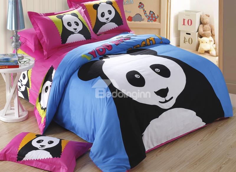Novel Luminous Baby Panda Print 4-Piece Cotton Duvet Cover Sets