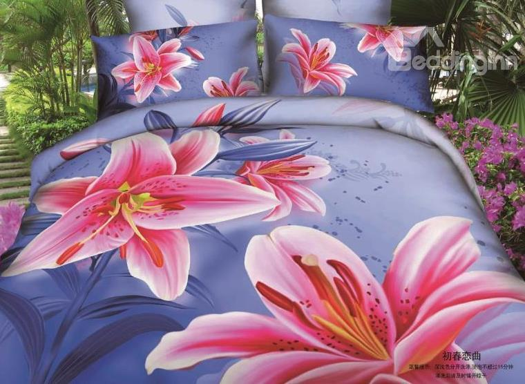 New Arrival Beautiful Pink Lily Flowers Print 4 Piece Bedding Sets