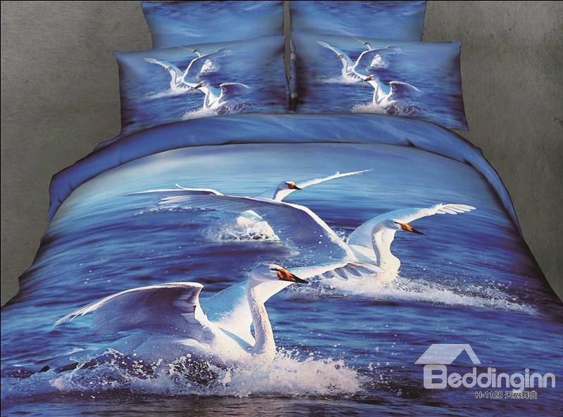 White Swans And Ocean Scene Blue Color 4 Piece Bedding Sets/Duvet Cover Sets