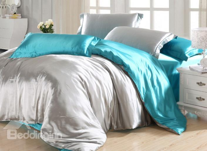 Elegant Light Gray And Water Blue 4-Piece Cellosilk Duvet Cover Sets
