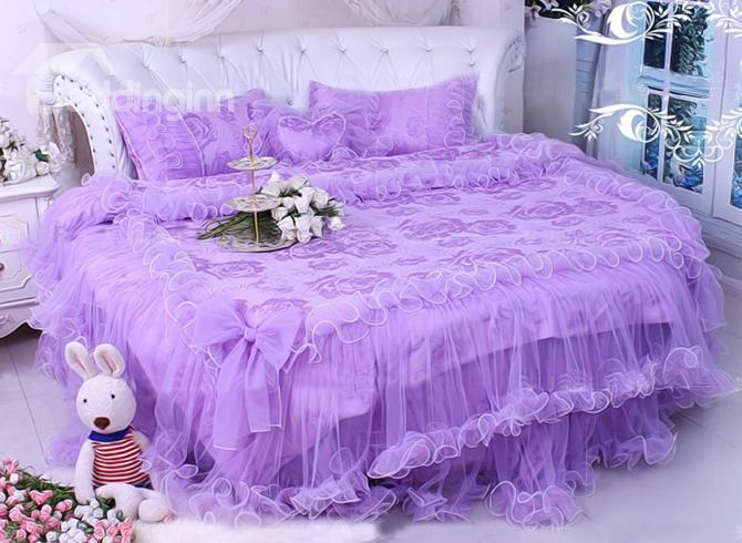 Dreaming Purple Satin Jacquard Lace Edging 4-Piece Princess Duvet Cover Sets