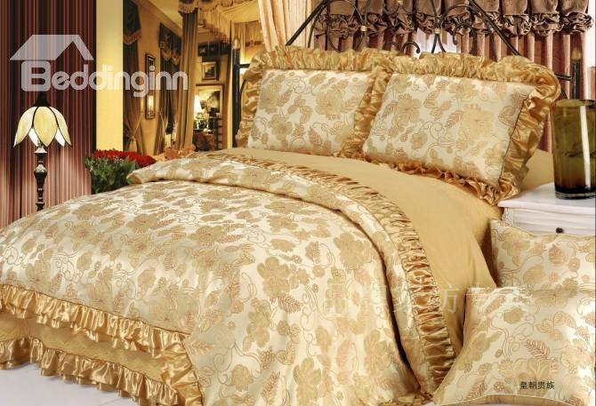 Ornate Camel Embroidery Floral 6 Piece Satin Bedding Sets 10489300)